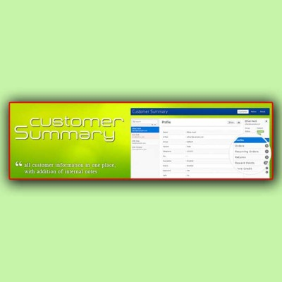 Скачать Customer Summary | Информация о покупателе на сайте rus-opencart.info