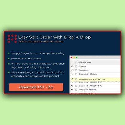 Скачать Сортировка перетаскиванием | Easy Sort Order with Drag & Drop на сайте rus-opencart.info