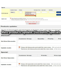 Mass products update: Discounts, Specials