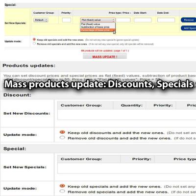 Скачать Mass products update: Discounts, Specials на сайте rus-opencart.info