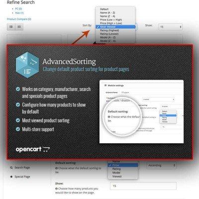 Скачать Advanced Sorting | Изменение сортировки по умолчанию на сайте rus-opencart.info