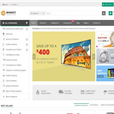 Скачать Market-A premium responsive OpenCart theme на сайте rus-opencart.info