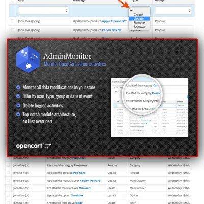 Скачать Мониторинг в админ панели | Admin Monitor на сайте rus-opencart.info