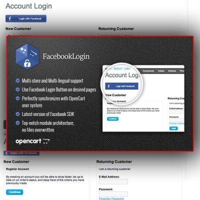 Скачать Модуль авторизации покупателей через Facebook на сайте rus-opencart.info