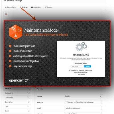 Скачать MaintenanceMode+ на сайте rus-opencart.info