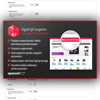 Скачать SignUpCoupons | Купон на скидку за регистрацию на сайте rus-opencart.info