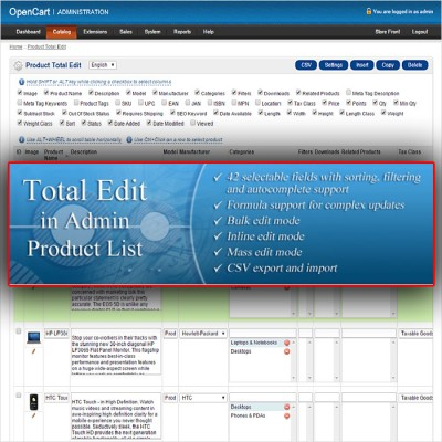 Скачать Total Edit In Admin Product List | Редактор товаров на сайте rus-opencart.info