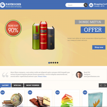 Скачать Pav Books Responsive Opencart Theme на сайте rus-opencart.info