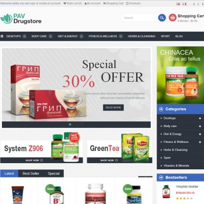 Скачать Pav DrugStore Responsive Opencart Theme на сайте rus-opencart.info