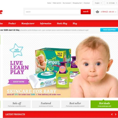 Скачать Responsive OpenCart Theme - Baby Store на сайте rus-opencart.info