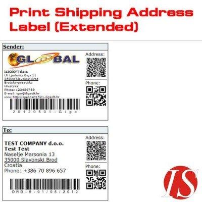 Скачать Print Shipping Address Label, распечатать лейбу адреса доставки на сайте rus-opencart.info