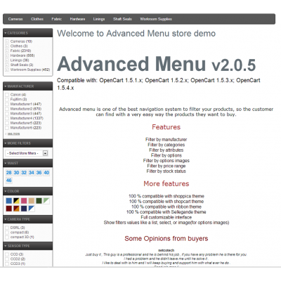 Скачать Advanced Menu Layered Category Attribute Options Ajax на сайте rus-opencart.info