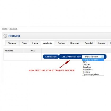 Скачать Attribute Helper V1.5.1 & vqmod support, атрибуты Helper V1.5 на сайте rus-opencart.info