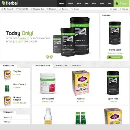 Скачать Herbal OpenCart Theme на сайте rus-opencart.info