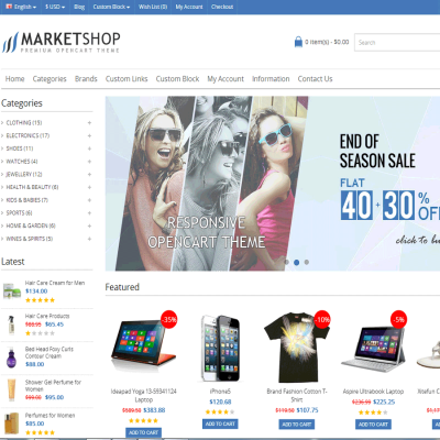 Скачать MarketShop - Multi-Purpose Premium OpenCart Theme на сайте rus-opencart.info