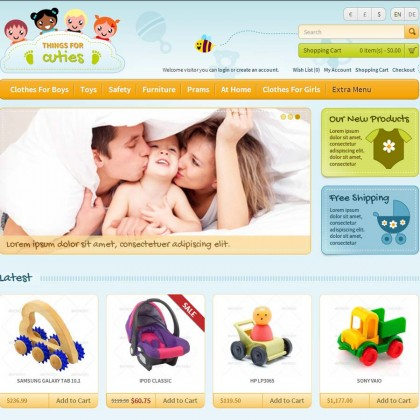 Скачать ThingsforCuties Responsive OpenCart Baby на сайте rus-opencart.info