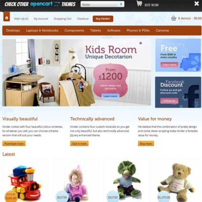 Скачать Kinder - 4 in 1 Premium OpenCart template на сайте rus-opencart.info